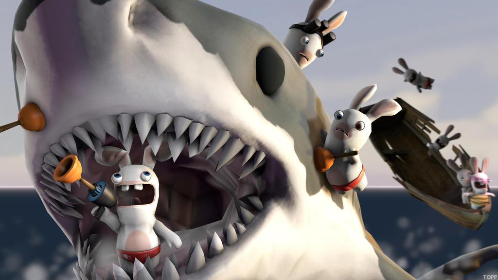 Rabbid Shark Attack By Toppramen