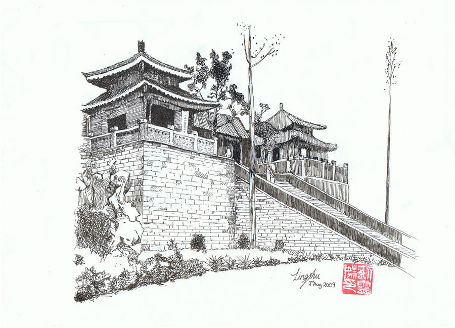 Old Chinese Buildings Sketch Coloring Page