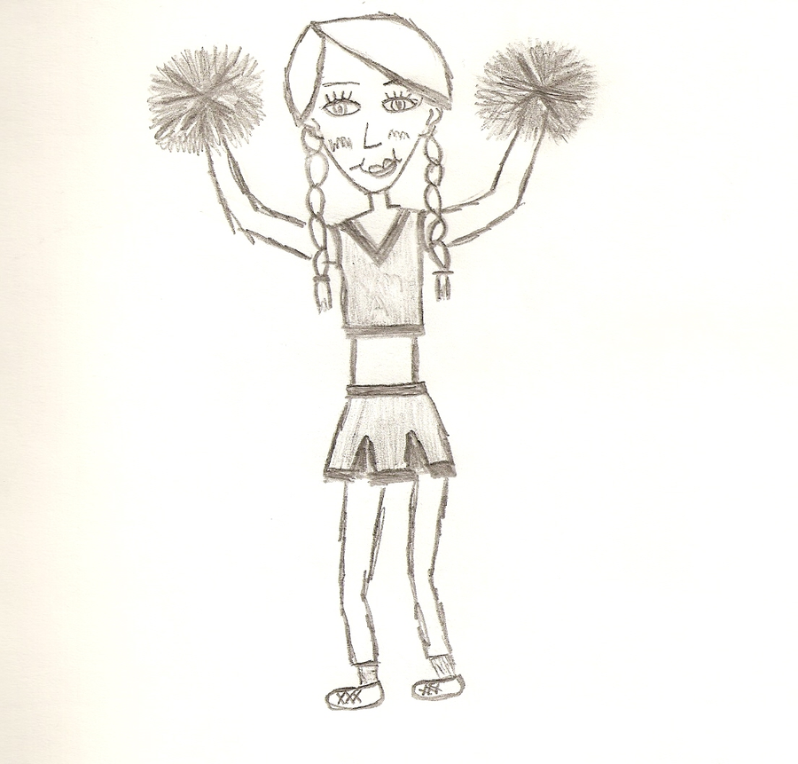 cheerleader pencil drawing by xticklemeemox6