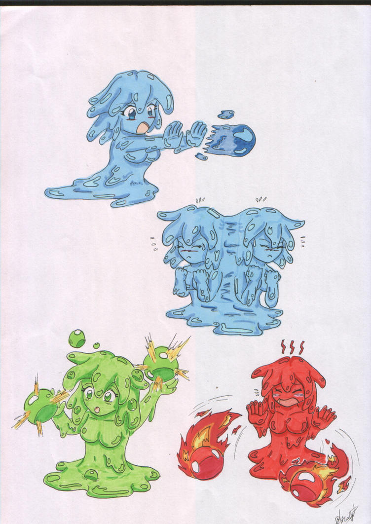 Monster Girls Slime Attacks by Saiyuki-Maniac