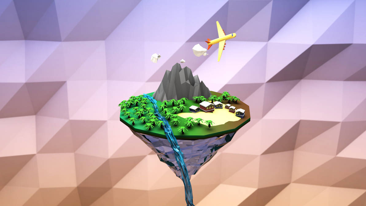 Low poly island 3D Render