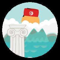 Tunisian Tourism app flat icon - sub2