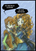 Hiccup and Merida - CURSE this leg! -EDIT - COLORE by AelitaC