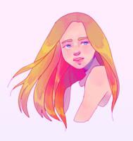 doodle portrait but weird colors by rose-guts