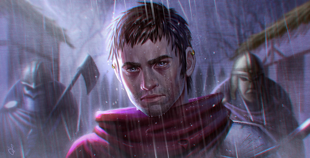 Knight with the red cloak by SaraForlenza