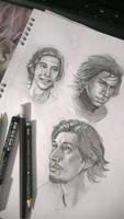 Adam Driver and Kylo Ren sketches