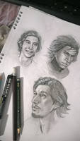 Adam Driver and Kylo Ren sketches by SaraForlenza