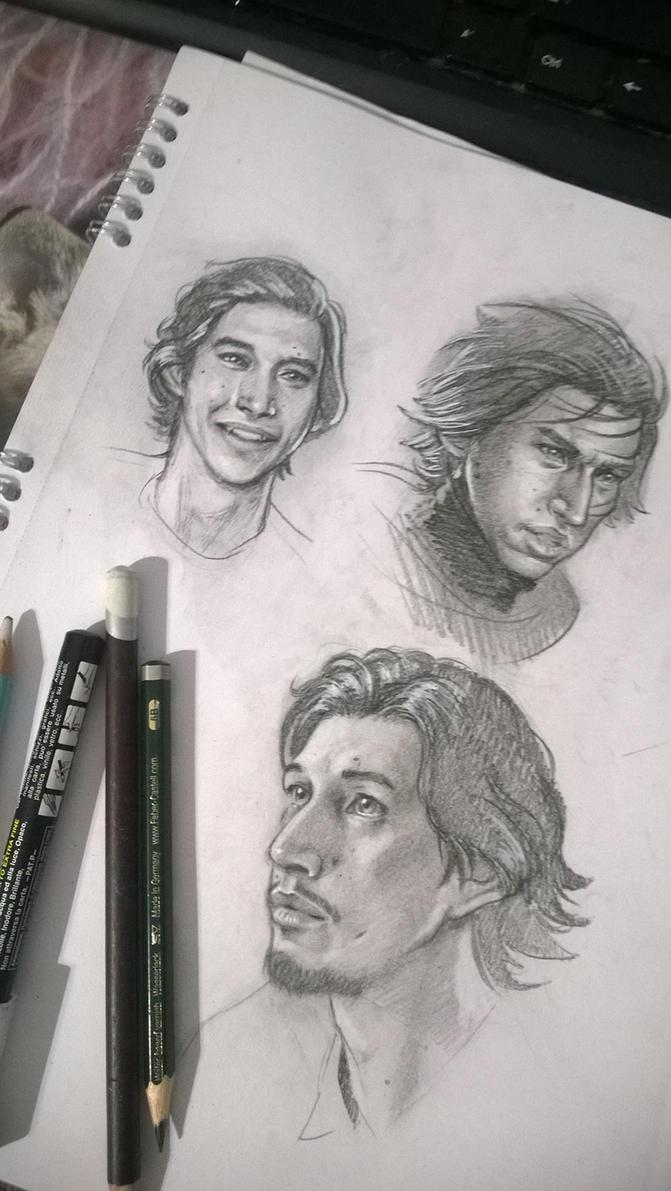 Adam Driver and Kylo Ren sketches by SaraForlenza