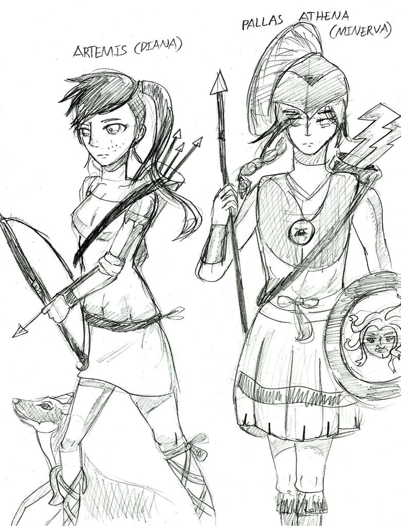 greek mythology athena and artemis sketch picture greek