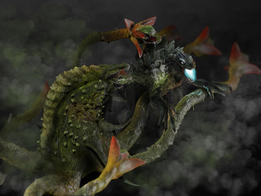 Godzilla vs Biollante by franeres