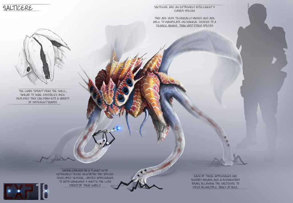 Salticere Creature Concept Sheet by franeres