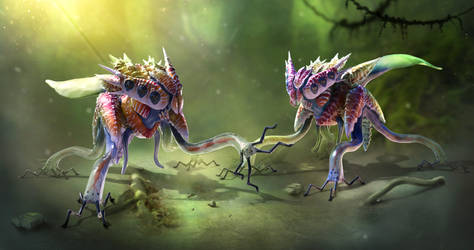 Salticere Creature Concept Sheet - Zbrush model by franeres