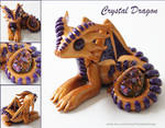 Polymer Clay Crystal Dragon Gold and Purple
