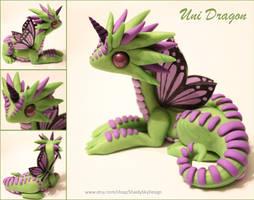 Polymer Clay Unicorn Dragon Green and Lilac by ShaidySkyDesign