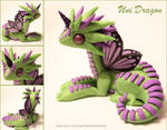 Polymer Clay Unicorn Dragon Green and Lilac