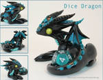 Polymer Clay Dice Dragon Black and Teal