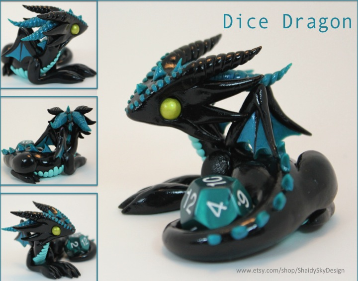 Polymer Clay Dice Dragon Black and Teal by ShaidySkyDesign