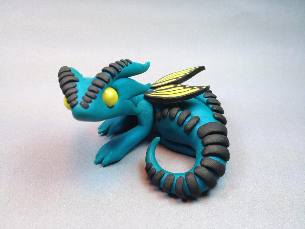 Polymer Clay Butterfly Dragon Teal By ShaidySkyDesign On