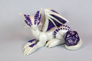 Polymer Clay Dragon White Pearl and Purple. by ShaidySkyDesign