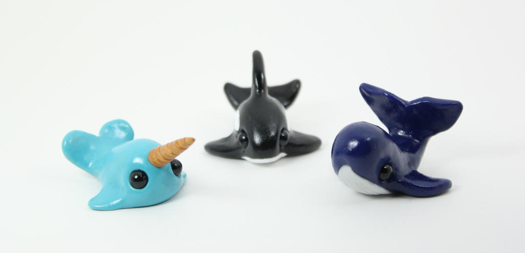 Polymer Clay Whales by ShaidySkyDesign