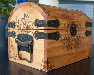 Woodburned Chest by CrystalKittyCat