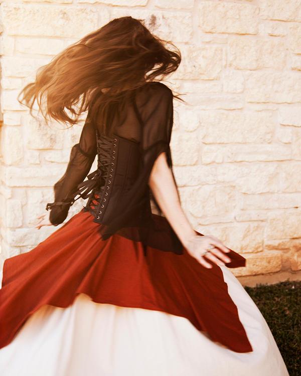 Orange Linen Pixie Skirt by CrystalKittyCat