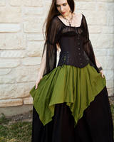 Mossy Green Linen Pixie Skirt by CrystalKittyCat