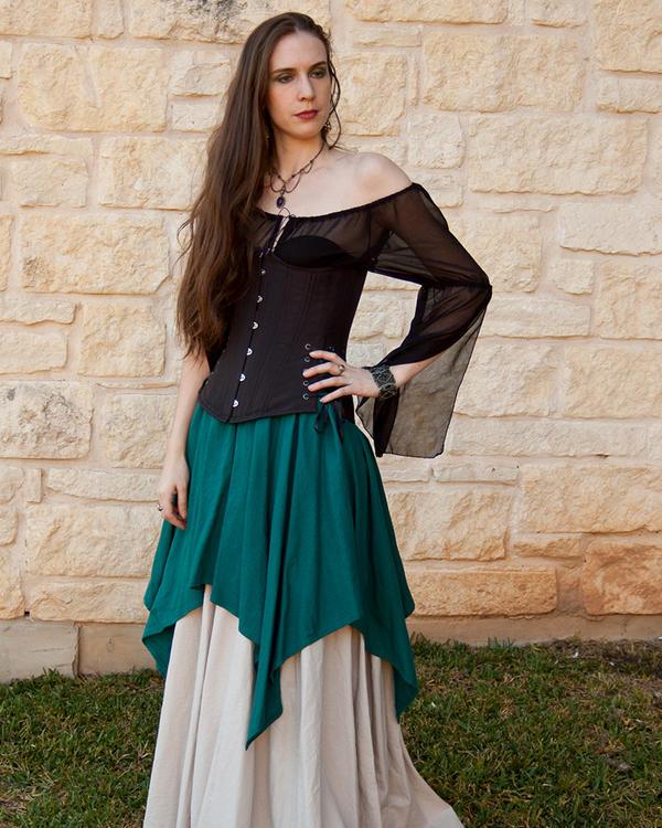 Teal Linen Pixie Skirt by CrystalKittyCat