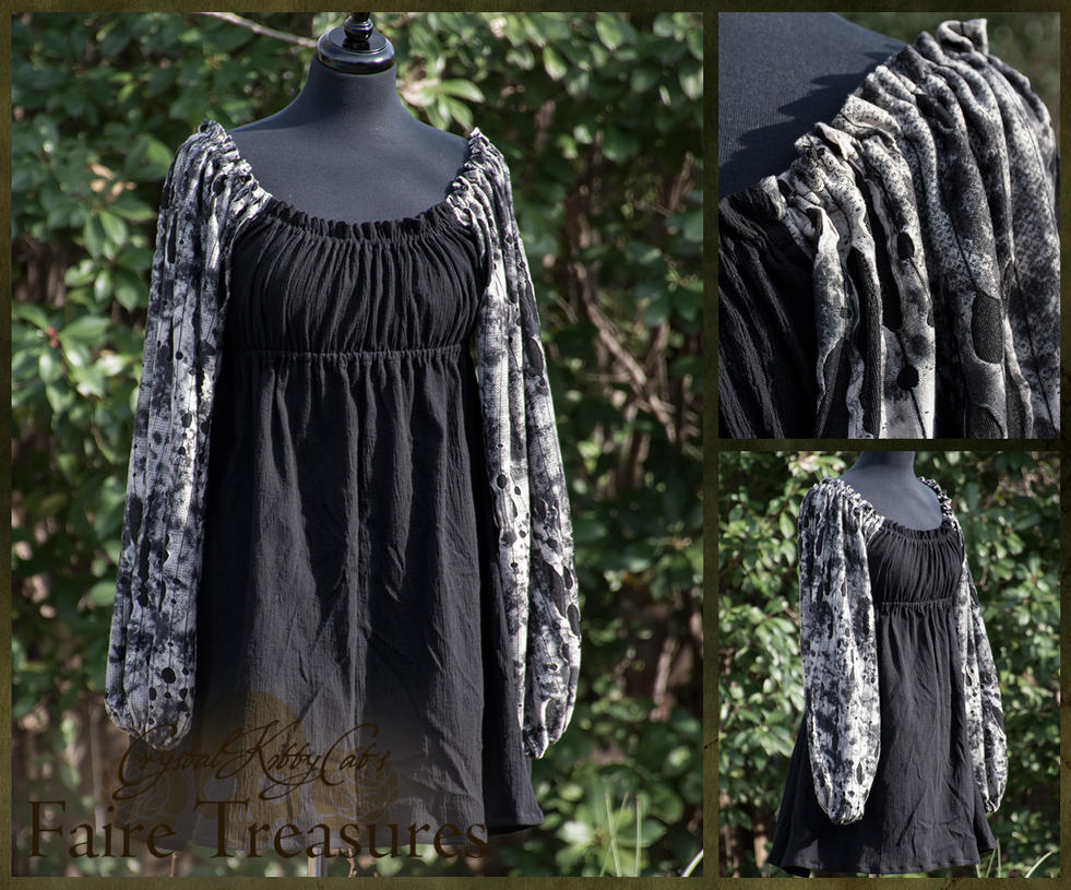Black and Ivory Renaissance Chemise by CrystalKittyCat