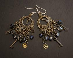 Steampunk Gypsy Brass Earrings Smokey Grey by CrystalKittyCat