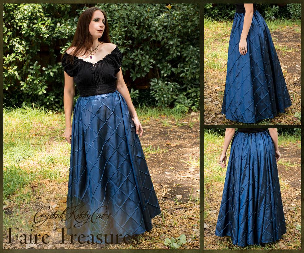 Sapphire Blue Pintuck Taffeta Renaissance Skirt by CrystalKittyCat