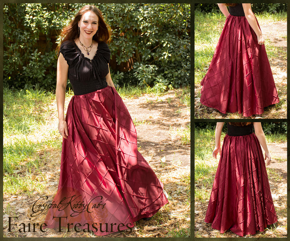 Raspberry Red Pintuck Taffeta Renaissance Skirt by CrystalKittyCat