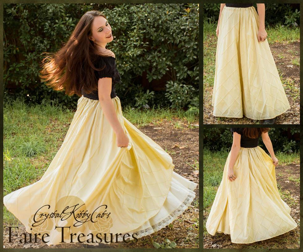 Buttercream Yellow Taffeta Renaissance Skirt by CrystalKittyCat