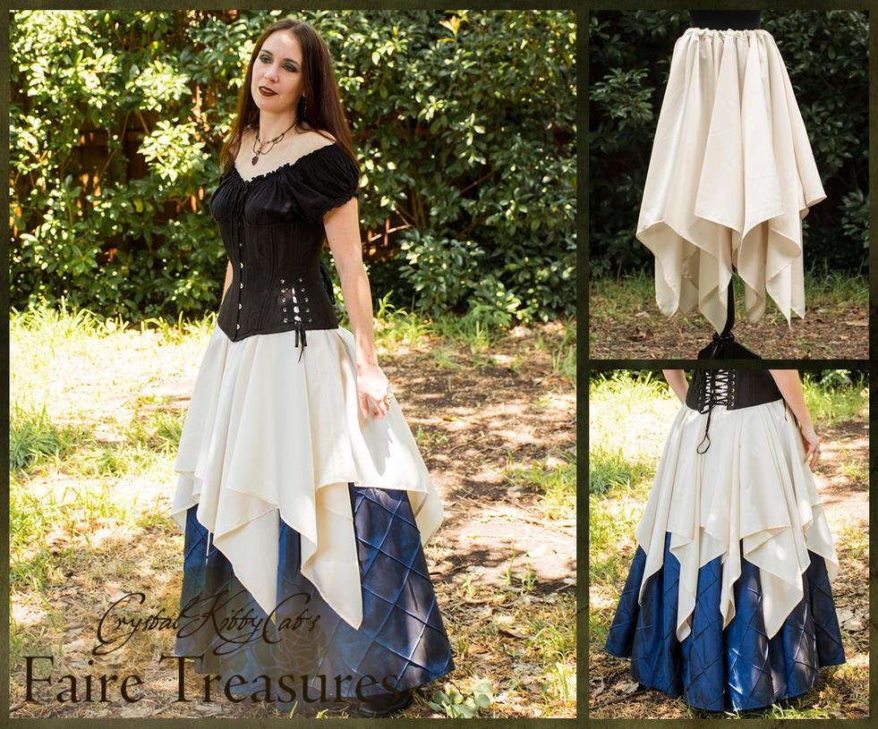 Ivory Satin Eight Point Pixie Skirt by CrystalKittyCat