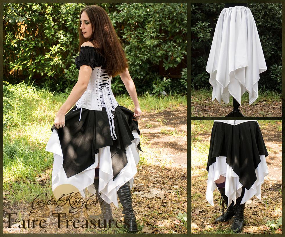 White Satin Eight Point Pixie Skirt by CrystalKittyCat