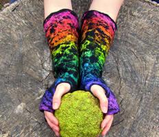 Rainbow Fingerless Gloves by HandiCraftKate