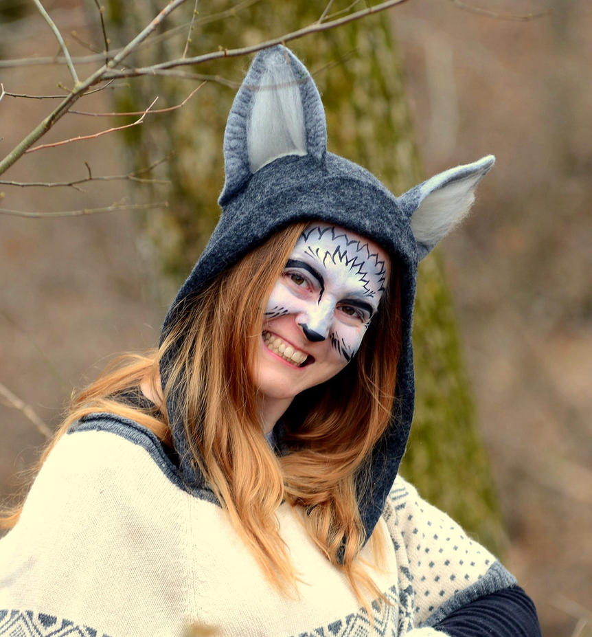 Wolfy Grin: Grey Wolf Hood by HandiCraftKate