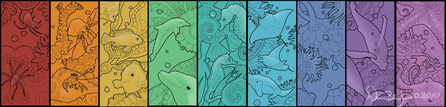 Water Animal Bookmarks Series by FamiliarOddlings