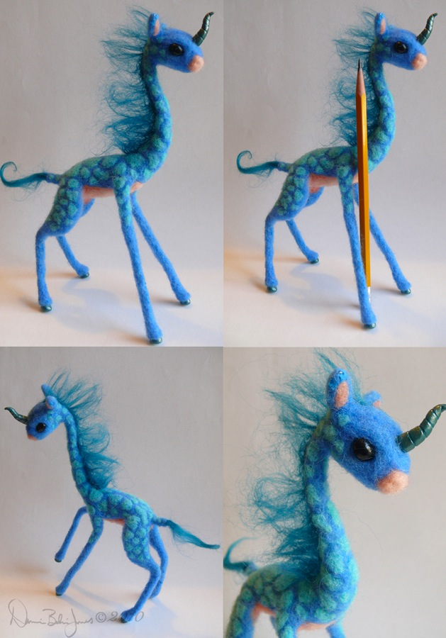 Kirin Giraffe blue and teal by FamiliarOddlings
