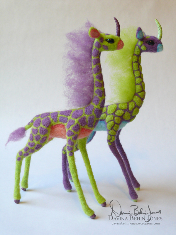 Kirin Pair Purple and Green by FamiliarOddlings