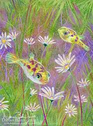 Puffers in the Flowers by FamiliarOddlings