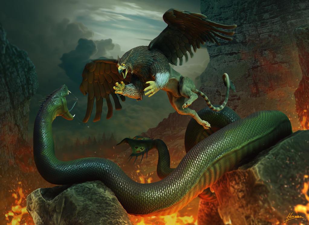 Grile vs Monstersnake by Skullbastard