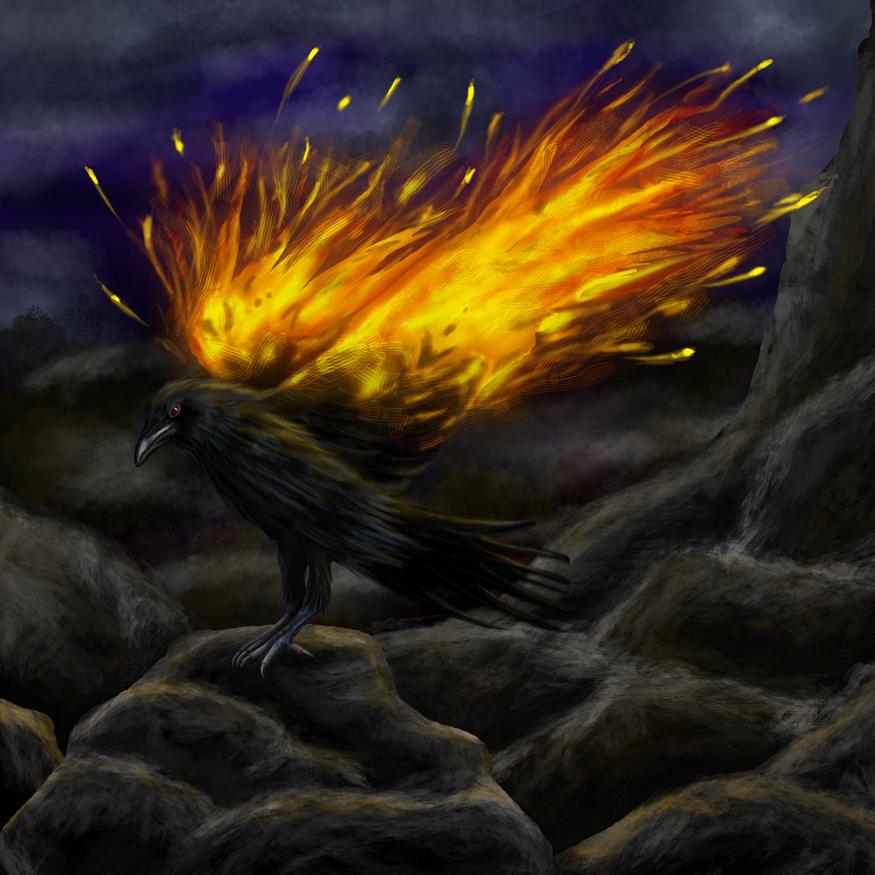 Fiery Raven by MortalRaven