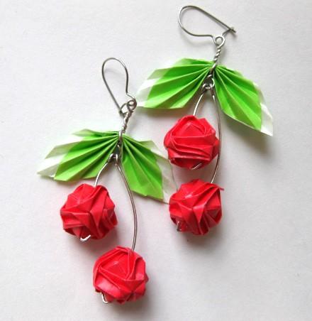 Origami Cherry Earrings by pandacub143 on DeviantArt - photo#30