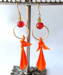 Houou Earrings Origami Phoenix