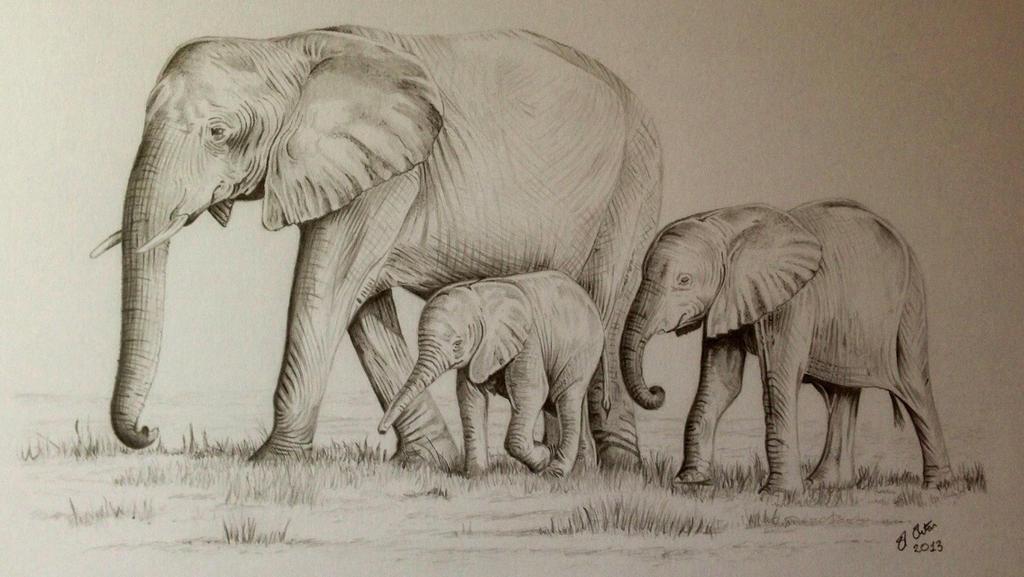 Elephant family painting - photo#15