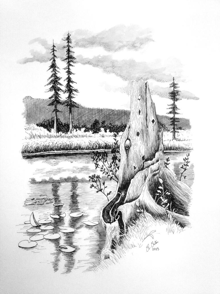 Ink landscape drawing by ned the hat on deviantart for What is landscape drawing