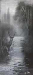 Pastel Stag landscape by Ned-The-Hat