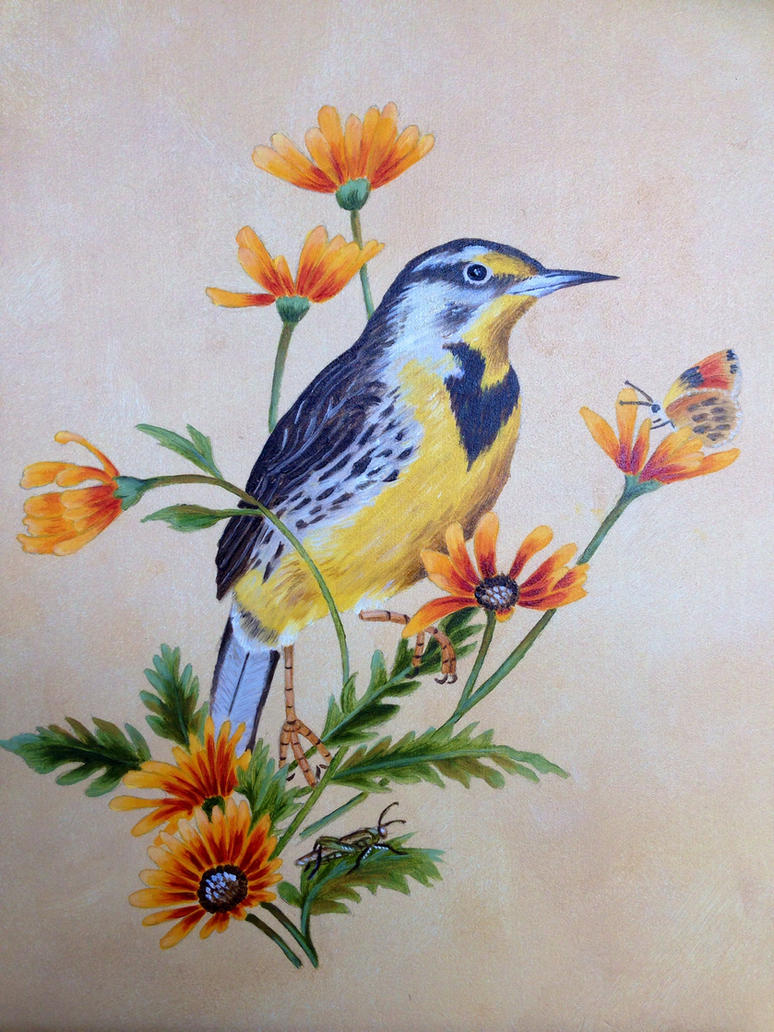 Western meadowlark oil painting by ned the hat on deviantart for Meadowlark load board
