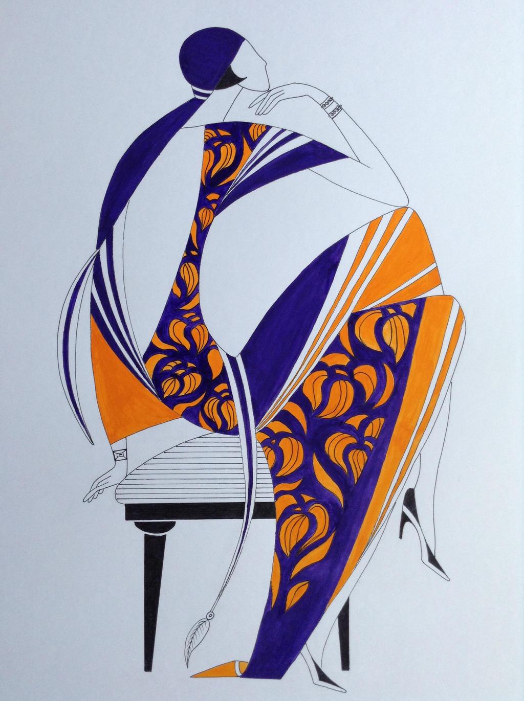 female art deco fashion illustration by ned the hat on deviantart. Black Bedroom Furniture Sets. Home Design Ideas